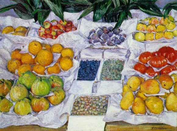 G. Caillebotte   Fruits sur un etalage fruit fruchte 580x429 Gustave Caillebotte in het  Gemeentemuseum Den Haag